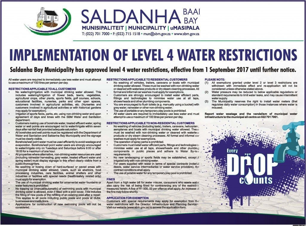 Saldanha Bay Municipality Implements Level 4 Water Restrictions