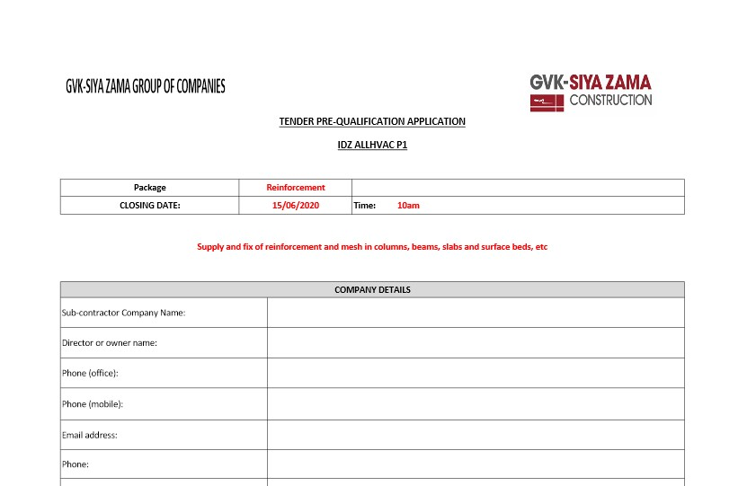 RFP Pre-qualification sheet for the IDZ ALLHVAC P1 Project for the Reinforcement trade
